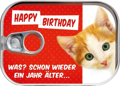 "Dosenpost ""Happy Birthday"" Katze"